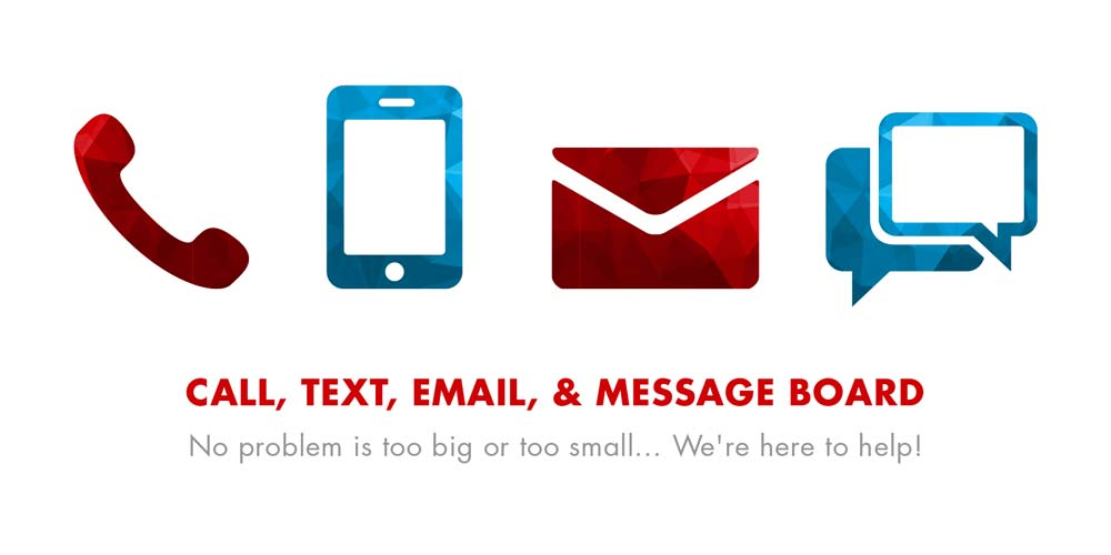 Call, Text, Email, & Message Board