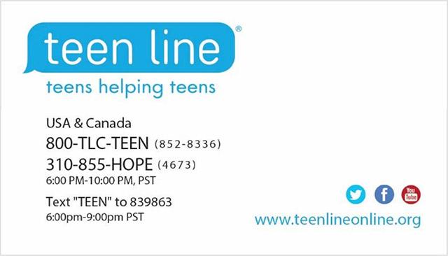 TEEN LINE postcards 2018