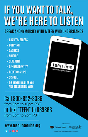 Teen Line if you want to talk poster - vertical